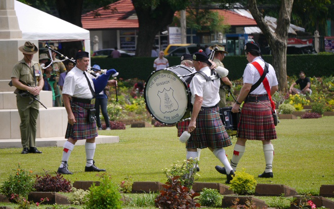 Pipes and Drums at Kamchanaburi War Cemetary