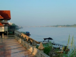 Nong Khai Riverside with Friendship Bridge to Laos in the distance